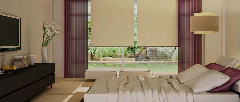 Ρόλερ απλά μονόχρωμα - πλαισιωμένα με φύλλα κουρτίνας